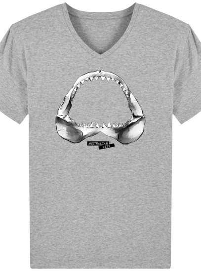 T-Shirt Homme V éthique Shark - Heather Grey - Face