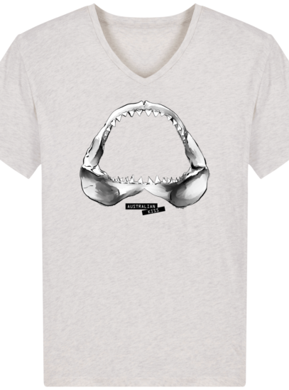 T-Shirt Homme V éthique Shark - Cream Heather Grey - Face
