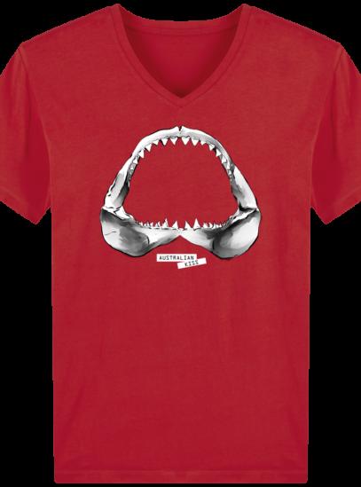 T-Shirt Homme V éthique Shark - Red - Face