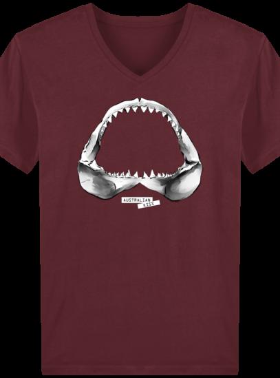 T-Shirt Homme V éthique Shark - Burgundy - Face