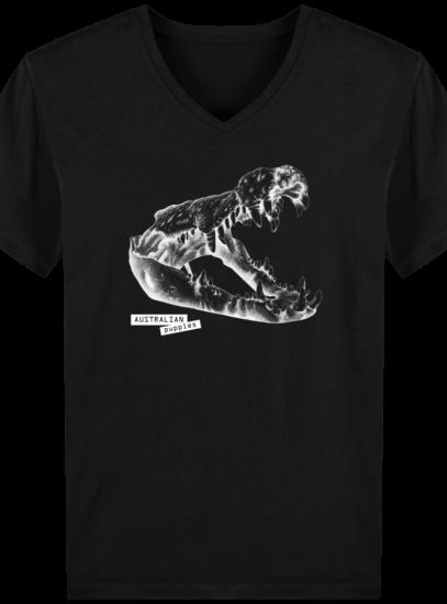 T-Shirt Homme V éthique Requin - Black - Face