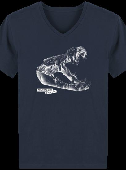 T-Shirt Homme V éthique Requin - French Navy - Face