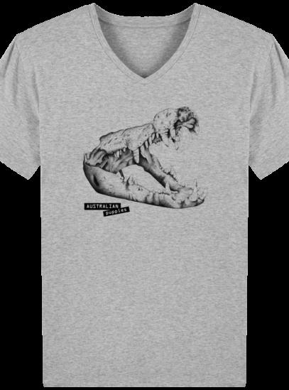T-Shirt Homme V éthique Requin - Heather Grey - Face