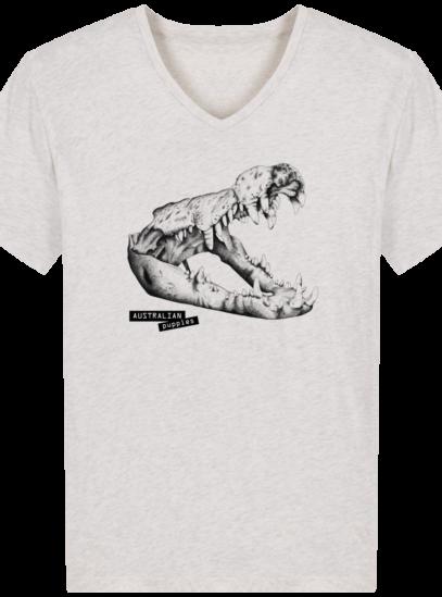 T-Shirt Homme V éthique Requin - Cream Heather Grey - Face