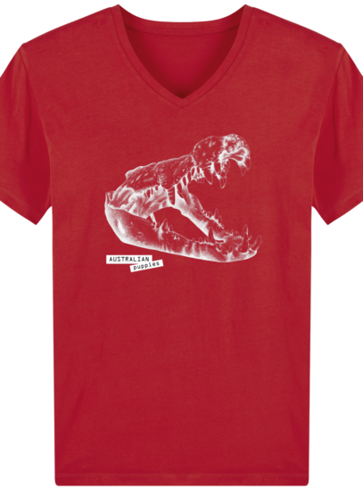 T-Shirt Homme V éthique Requin - Red - Face