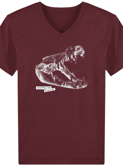 T-Shirt Homme V éthique Requin - Burgundy - Face