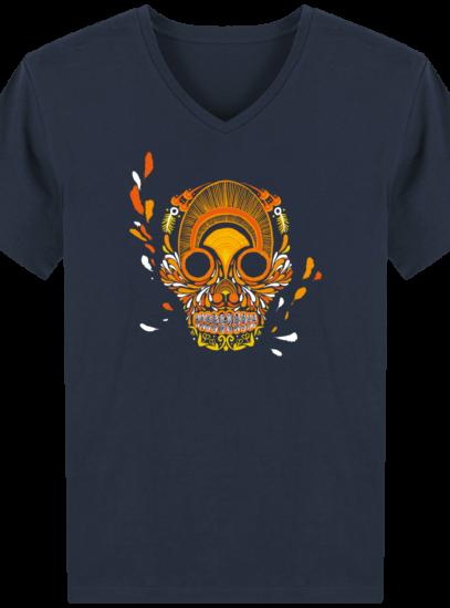 T-Shirt Homme V éthique Breizh Skull - French Navy - Face