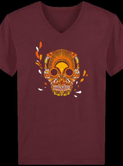 T-Shirt Homme V éthique Breizh Skull - Burgundy - Face