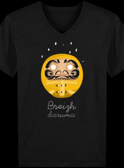 T-Shirt Homme V éthique Ciré jaune - Black - Face