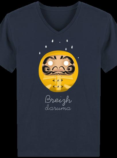 T-Shirt Homme V éthique Ciré jaune - French Navy - Face