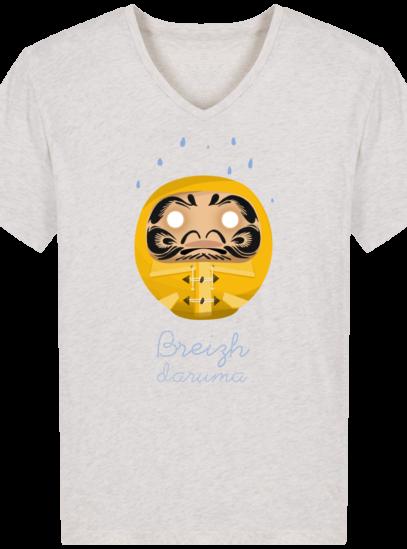 T-Shirt Homme V éthique Ciré jaune - Cream Heather Grey - Face