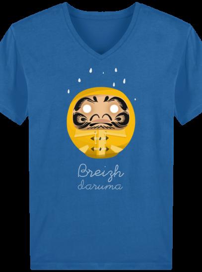 T-Shirt Homme V éthique Ciré jaune - Royal Blue - Face