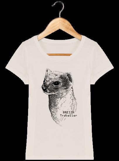 T-Shirt Femme Breton Hermine Bretonne - Off White - Face