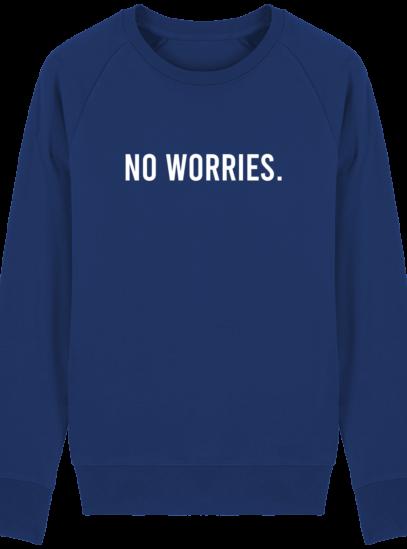 Sweat Homme éthique No Worries - Majorelle Blue - Face