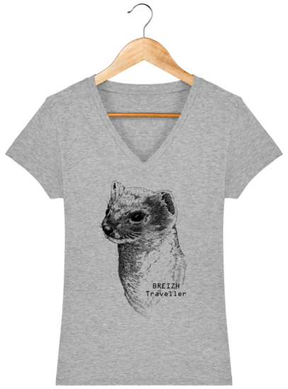 T-Shirt Femme V Breton Hermine Bretonne - Heather Grey - Face