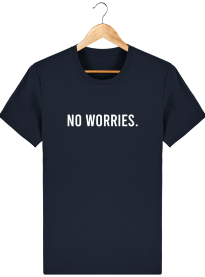T-Shirt Homme éthique No Worries. - French Navy - Face