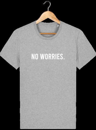 T-Shirt Homme éthique No Worries. - Heather Grey - Face