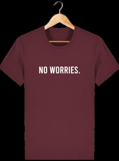 T-Shirt Homme éthique No Worries. - Burgundy - Face