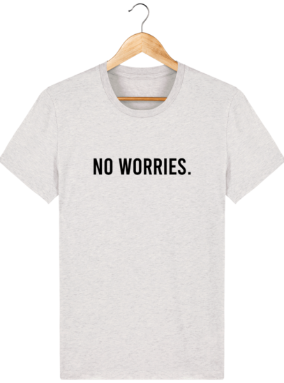 T-Shirt Homme éthique No Worries. - Cream Heather Grey - Face