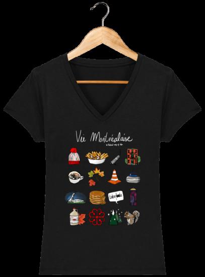 T-Shirt Femme V éthique Vie Montréalaise - Black - Face