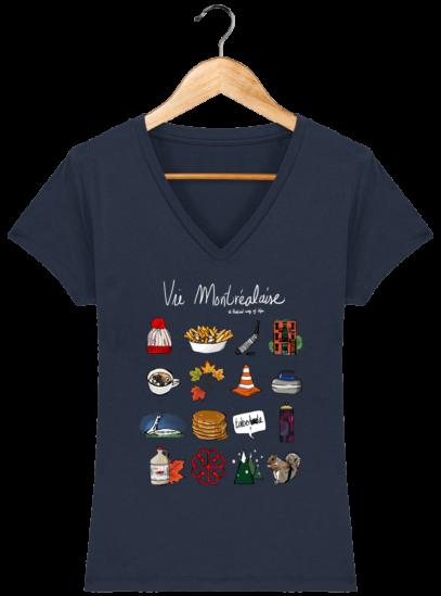 T-Shirt Femme V éthique Vie Montréalaise - French Navy - Face