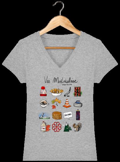 T-Shirt Femme V éthique Vie Montréalaise - Heather Grey - Face
