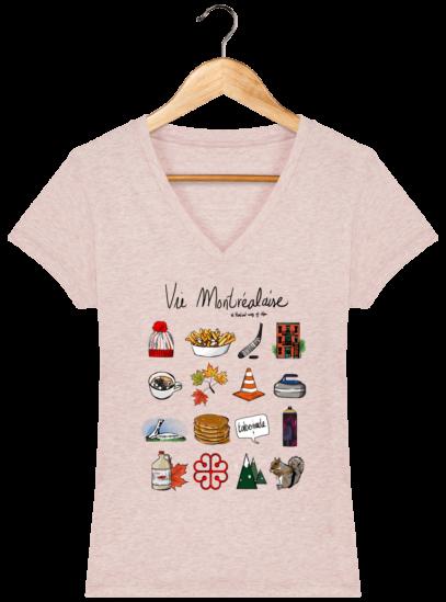 T-Shirt Femme V éthique Vie Montréalaise - Cream Heather Pink - Face