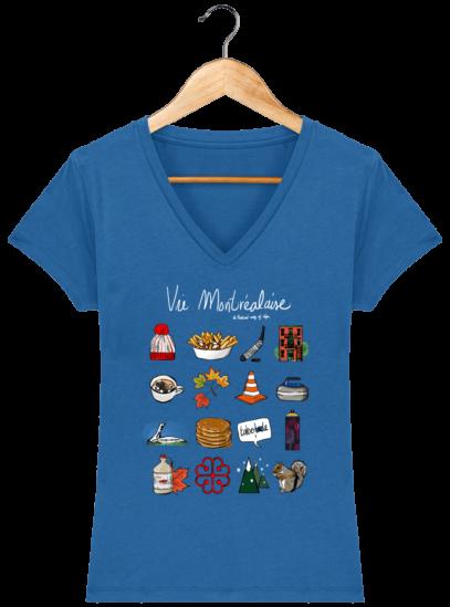 T-Shirt Femme V éthique Vie Montréalaise - Royal Blue - Face