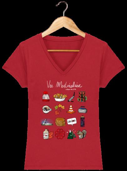T-Shirt Femme V éthique Vie Montréalaise - Red - Face