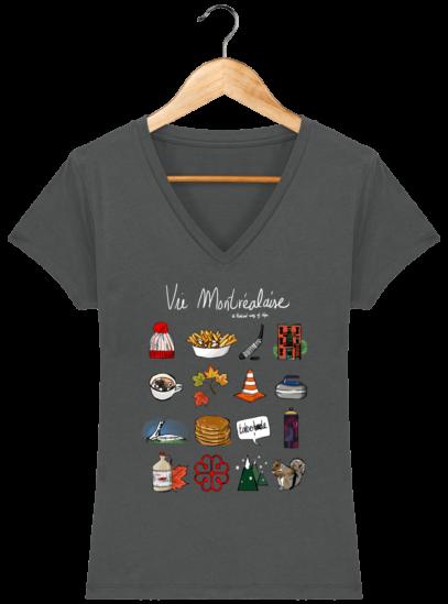 T-Shirt Femme V éthique Vie Montréalaise - Anthracite - Face