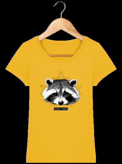 T-Shirt Femme éthique Raton Laveur - Spectra Yellow - Face