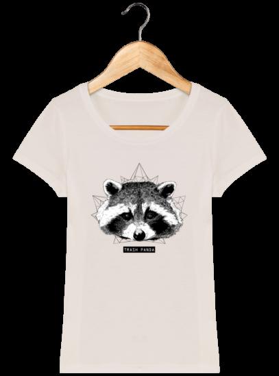 T-Shirt Femme éthique Raton Laveur - Off White - Face