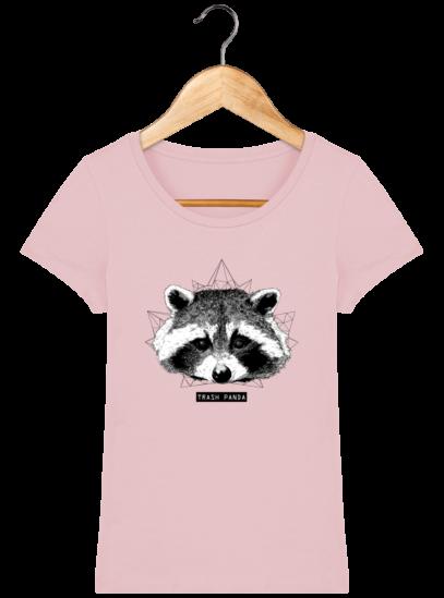 T-Shirt Femme éthique Raton Laveur - Cotton Pink - Face
